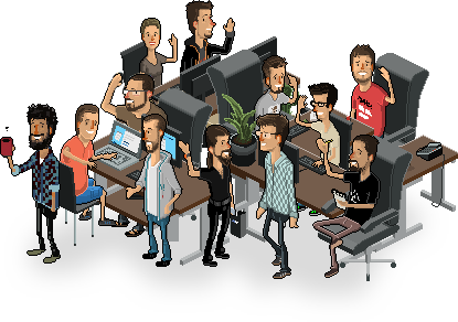 Pixelated image of the easyname team
