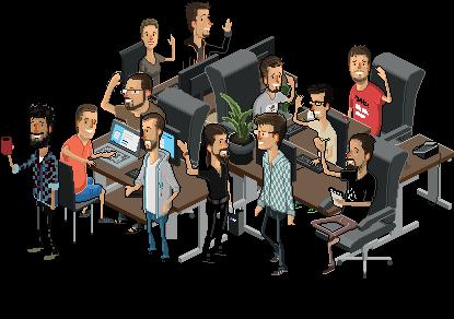 El equipo de easyname en estilo pixel